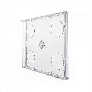 Box CD Tradicional Duplo Tray Crystal (Novo Disc) - 01 Unidade