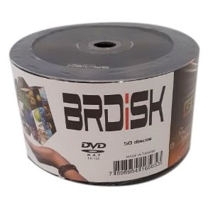 DVD-R Brdisk 16X 4.7GB C/ Logo - 50 Unidades (Shrink Lacrado)