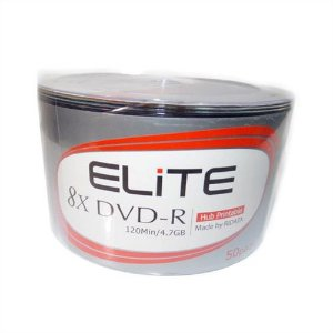 DVD-R Elite (RITEKG05) 8X 4.7GB Printable Branco - 50 Unidades (Shrink Lacrado)
