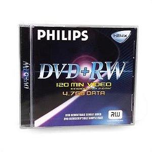 DVD+RW Philips 1~4X 4.7GB C/Logo - 03 Unidades (Caixa C/03 Boxes Lacrado)