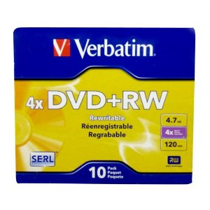 DVD+RW Verbatim 4X 4.7GB C/Logo - 10 Unidade (Caixa C/10 Boxes Slim Lacrado)
