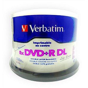 DVD+R Dual Layer Verbatim 8X 8.5GB Dual Layer Printable - 50 Unidades (Pino Lacrado)