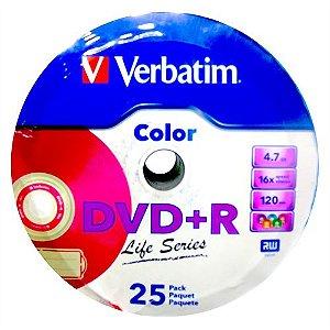 DVD+R Verbatim 16X 4.7GB C/Logo Color - 25 Unidades (Shrink Lacrado)