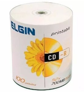 CDR Elgin 52X 700MB Printable Branco - 100 Unidades (Shrink Lacrado)