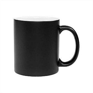 Caneca Cerâmica Mágica Preta Fosca ShopVirtua3000® 325ml Resinada P/ Sublimação (454) - 36 Unidades (Caixa Fechada)