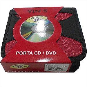 Porta CDs / DVDs Yin's em Nylon para 24 Mídias (YI85009)
