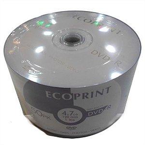 DVD-R EcoPrint 16X 4.7GB C/Logo - 100 Unidades (Shrink Lacrado)