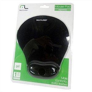 Mouse Pad Multilaser Gel Pequeno Preto (AC021) - 01 Unidade