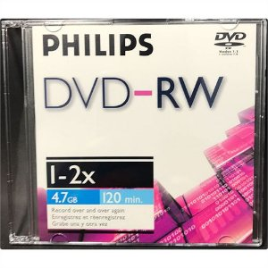 DVD-RW Philips 1~2x 4.7GB C/Logo - 05 Unidades (Box Slim Lacrado)
