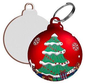 Bolinha para Árvore de Natal 6,5cm com Argola Mdf 6mm Branco Resinado para Sublimação Ultra Brilho - Pacote Com 10 Unidades
