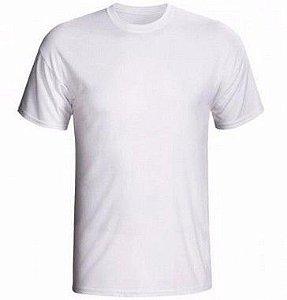 Camiseta/Camisa Tamanho P Gola Careca Manga Curta Unissex em Malha 100% poliéster Branca Sublimática - 01 Unidade