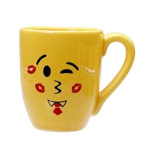 Caneca Cerâmica Amarela 325ml Resinada P/ Sublimação Coleção Emojis do Whatsapp Moledo Beijo ShopVirtua3000® 😘 (cód. 2014) - 01 Unidade