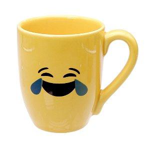 Caneca Cerâmica Amarela 325ml Resinada P/ Sublimação Coleção Emojis do Whatsapp Moledo Chorando de rir ShopVirtua3000® 😂 (cód. 2014) - 01 Unidade