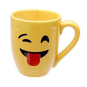 Caneca Cerâmica Amarela 325ml Resinada P/ Sublimação Coleção Emojis do Whatsapp Moledo Debochado ShopVirtua3000® 😜 (cód. 2014) - 01 Unidade