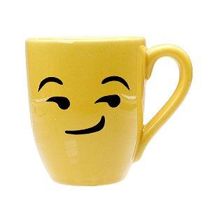 Caneca Cerâmica Amarela 325ml Resinada P/ Sublimação Coleção Emojis do Whatsapp Moledo Maldoso ShopVirtua3000® 😏 (cód. 2014) - 01 Unidade