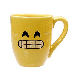 Caneca Cerâmica Amarela 325ml Resinada P/ Sublimação Coleção Emojis do Whatsapp Moledo Sorridente ShopVirtua3000® 😬 (cód. 2014) - 01 Unidade