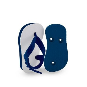 Chinelo Borracha Sublimático Modelo Tira Baby Azul Marinho 17/18 (com Tira Calcanhar) Embalado a Vácuo não Suja ou Amarela (JD7000) - 01 Unidade