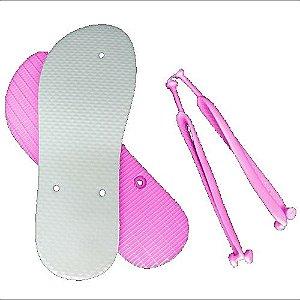 Chinelo Borracha Sublimático Modelo Tira Slim Rosa Bebê Adulto 35/36 Embalado a Vácuo não Suja ou Amarela (JD8010) - 01 Unidade