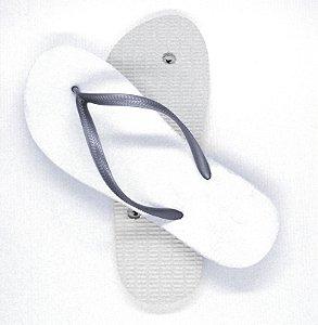 Chinelo Borracha Sublimático Modelo Tira Slim Prateado e Sola Branca Adulto 35/36 Embalado a Vácuo não Suja ou Amarela (JD8050) - 01 Unidade