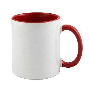 Caneca Cerâmica Branca com interior e alça em Vermelho 325ml Resinada P/ Sublimação (B004) - 01 Unidade
