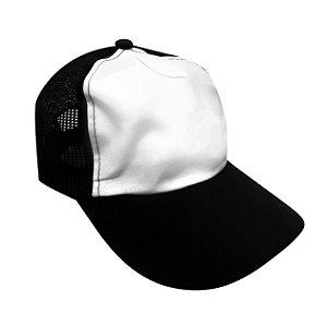 Boné Americano Cabeça frente Branca para Sublimação com Aba e Tela Preta em Microfibra Adulto (844)