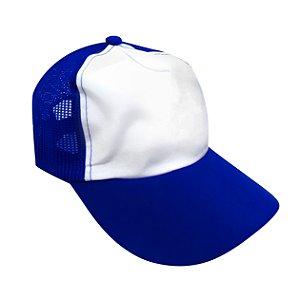 Boné Americano Cabeça frente Branca para Sublimação com Aba e Tela Azul Royal em Microfibra Adulto (844)