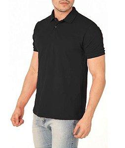 Camisa Modelo Polo 100% Poliéster Preto para Sublimação - 01 Unidade