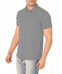Camisa Modelo Polo 100% Poliéster Cinza para Sublimação - 01 Unidade