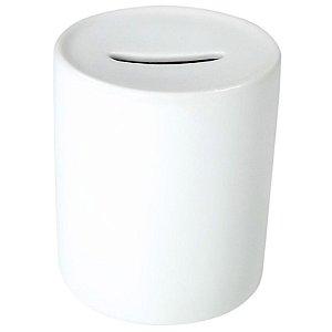 Cofrinho de Moedas Cerâmica Branca Resinada P/ Sublimação (B037) - 01 Unidade