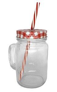Caneca Mason Jar Com Tampa e Canudo Cor Vermelho Estilo Jarra em Vidro  475ml Resinada para Sublimação (2092) - 24 Unidades (Caixa Fechada)