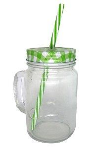 Caneca Mason Jar Com Tampa e Canudo Cor Verde Estilo Jarra em Vidro  475ml Resinada para Sublimação (2090) - 01 Unidade