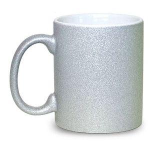 Caneca Cerâmica Glitter Prata ShopVirtua3000® 325ml Resinada P/ Sublimação (1997) - 01 Unidade