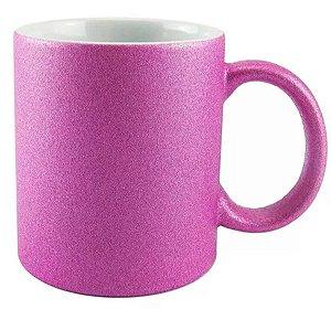 Caneca Cerâmica Glitter Rosa Pink ShopVirtua3000® 325ml Resinada P/ Sublimação (1999) - 01 Unidade