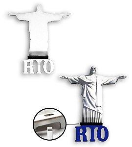Suporte para Smartphone Cristo Redentor com Furo para Carregador em Mdf 6mm Branco Resinado para Sublimação Ultra Brilho - 01 Unidade (PH1605)