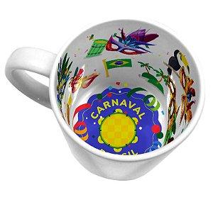 Caneca Cerâmica 325 ml Branca Motto Mug Resinada P/ Sublimação - Carnaval ShopVirtua3000® (21007) - 01 Unidade
