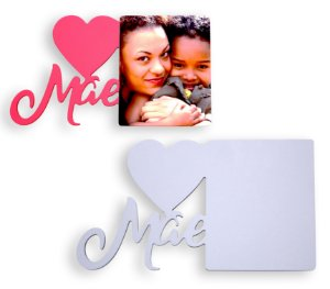 """Porta Retrato Tema ''Mãe Coração"""" Mdf 6mm Branco Retangular Resinado para Sublimação Ultra Brilho (PH1416) - 01 Unidade"""