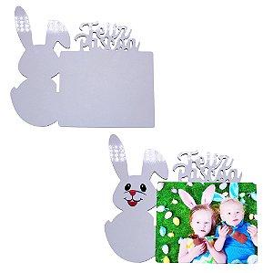 """Porta Retrato Tema ''Páscoa"""" Mdf 6mm Branco Retangular Resinado para Sublimação Ultra Brilho (PH1417) - 01 Unidade"""