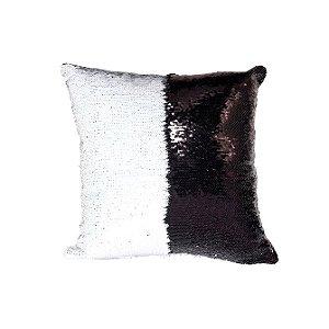 Capa de Almofada de Lantejoulas Mágicas Dupla Face Preto e Branca Sublimáticas - 40x40cm ShopVirtua3000® (2185)