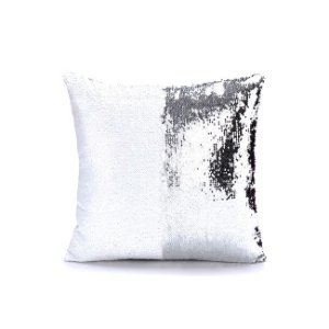 Capa de Almofada de Lantejoulas Mágicas Dupla Face Prata e Branca Sublimáticas - 40x40cm ShopVirtua3000® (2186)