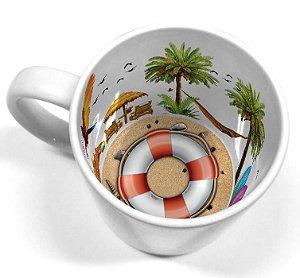 Caneca Cerâmica 325 ml Branca Motto Mug - Verão Salva Vidas ShopVirtua3000® (2109) - 01 Unidade
