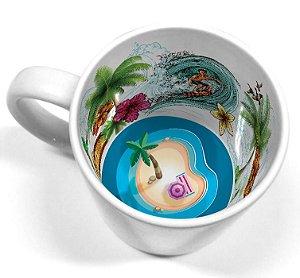 Caneca Cerâmica 325 ml Branca Motto Mug - Verão Tropical Live (2110) - 36 Unidades (Caixa Fechada)