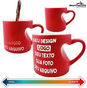Caneca Cerâmica Mágica Vermelha Formato de Coração 325ml Personalizada (Com Seu Arquivo) - 01 Unidade