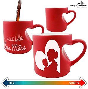 Caneca Cerâmica Mágica Vermelha Formato de Coração 325ml Personalizada Feliz dia das Mães - 01 Unidade