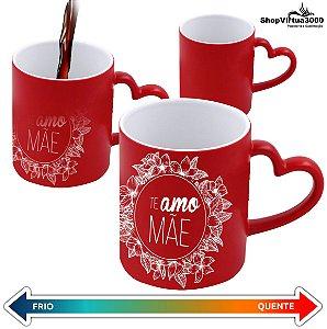 Caneca Cerâmica Mágica Vermelha C/Alça de Coração 325ml Personalizada Te amo Mãe Brasão Floral - 01 Unidade
