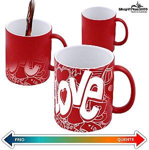 Caneca Cerâmica Mágica Vermelha Com Brilho  325ml Personalizada LOVE - 01 Unidade