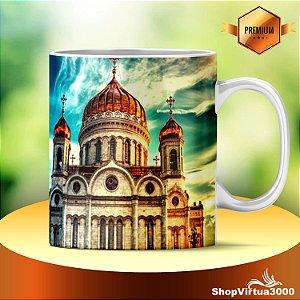 Caneca Cerâmica Classe +AAA Personalizada Catedral de Cristo Salvador Moscow Russia - 01 Unidade