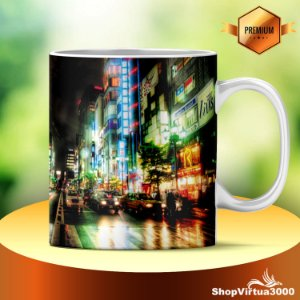 Caneca Cerâmica Classe +AAA Personalizada Tokyo City by Night - 01 Unidade