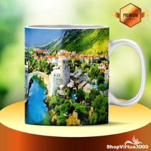 Caneca Cerâmica Classe +AAA Personalizada Mountains Houses - 01 Unidade