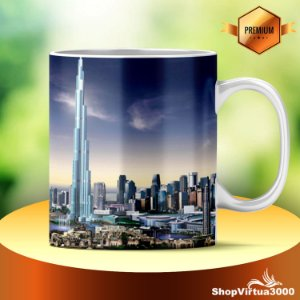 Caneca Cerâmica Classe +AAA Personalizada Dubai Burj khalifa - 01 Unidade