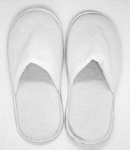 Pantufa Branca em Algodão com Faixa de Poliéster para Sublimação Adulto (SP110) - 01 Unidade